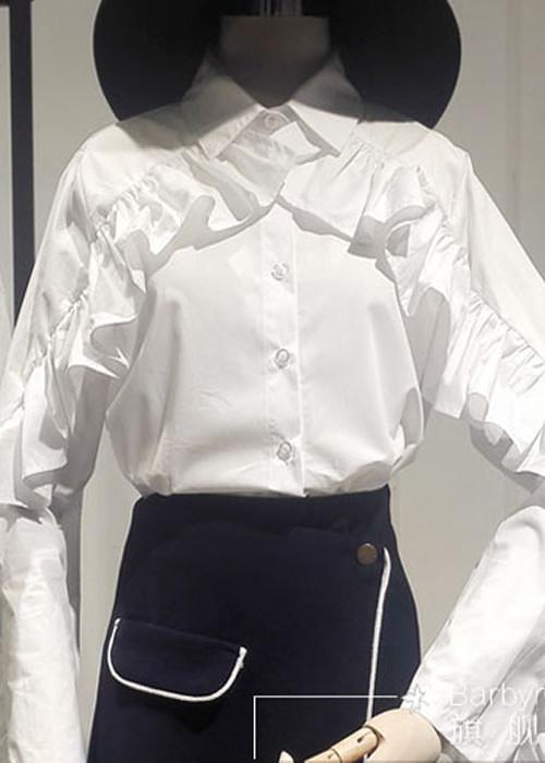 프릴슬리브 카라넥 셔츠 블라우스