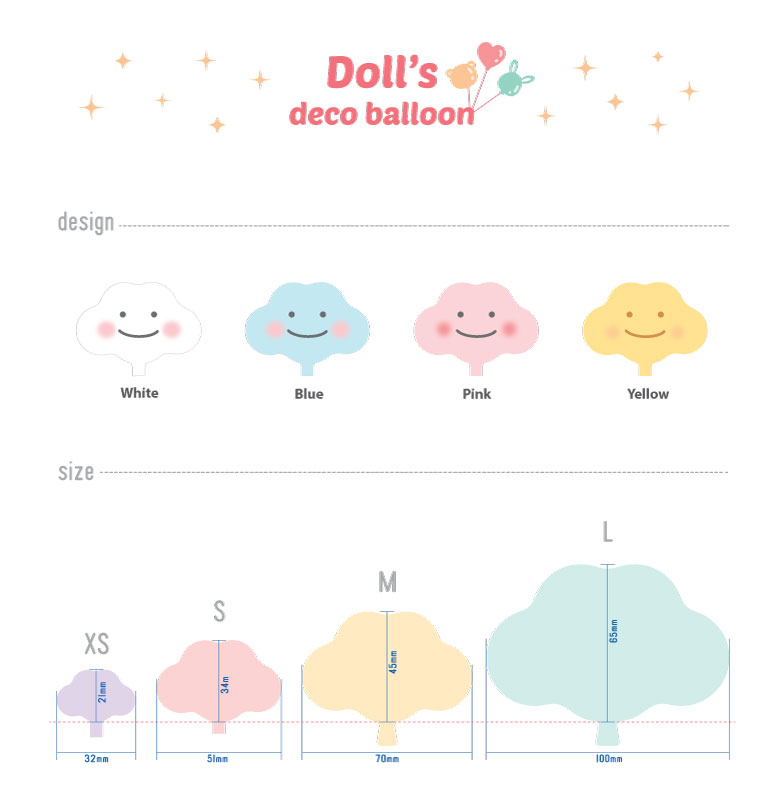 Balloon cloud shape for dolls or figures decoration for Balloon cloud decoration
