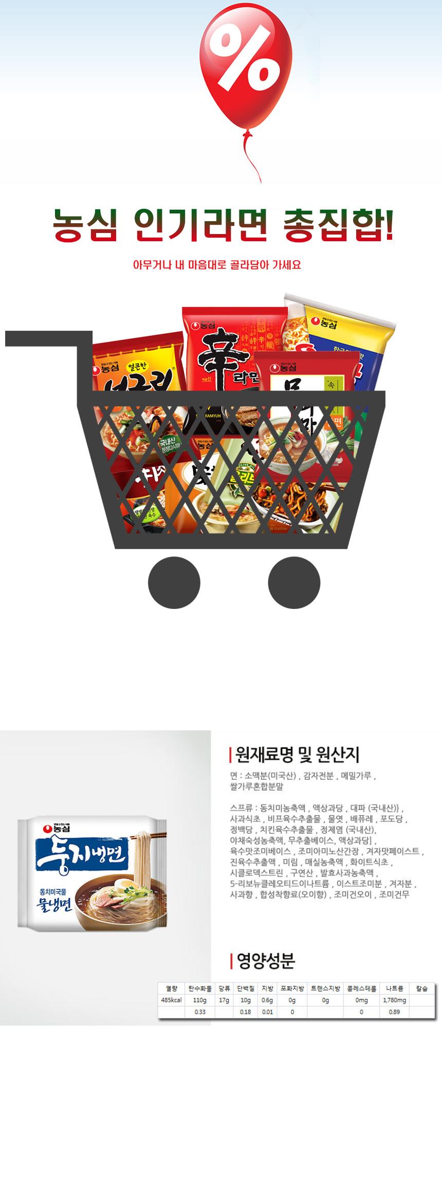 [ NongShim ] Dungji Mulnaengmyeon(Multi-pack) 161g x 4P