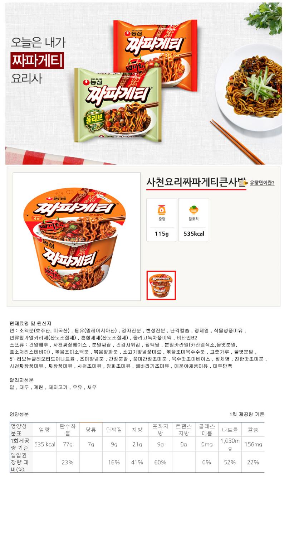 [ NongShim ] Sichuan Dish Jjapagetti Big Cup115gX4P