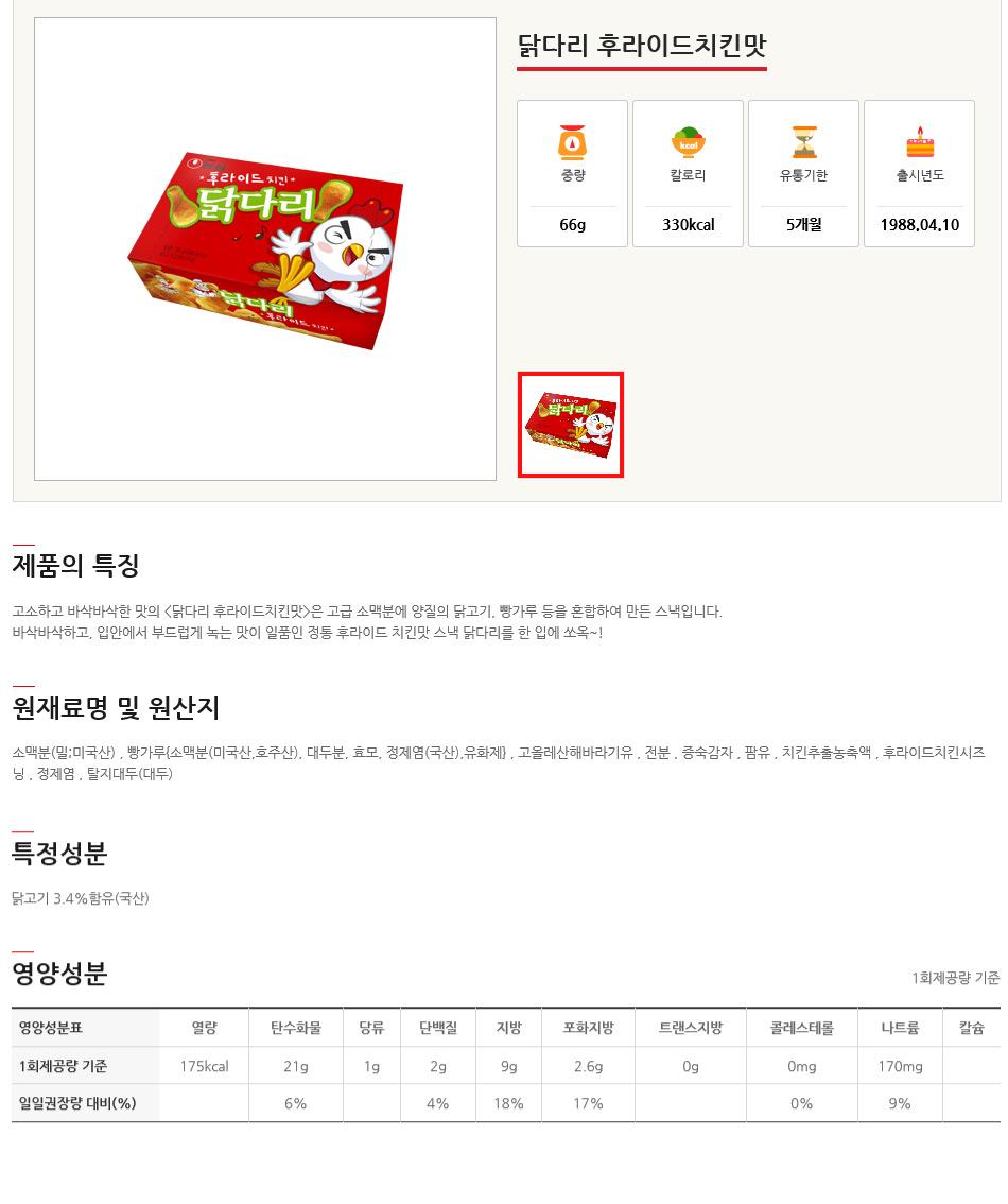 [ NongShim ] [盒][制糖]鸡小吃油炸条 66g)20包)