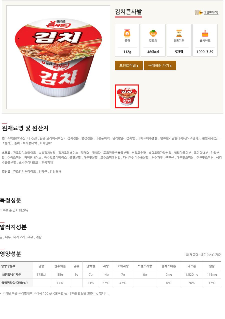 [ NongShim ] [BOX][Nongshim] Kimchi Noodle Ramen Big Cup 1BOX