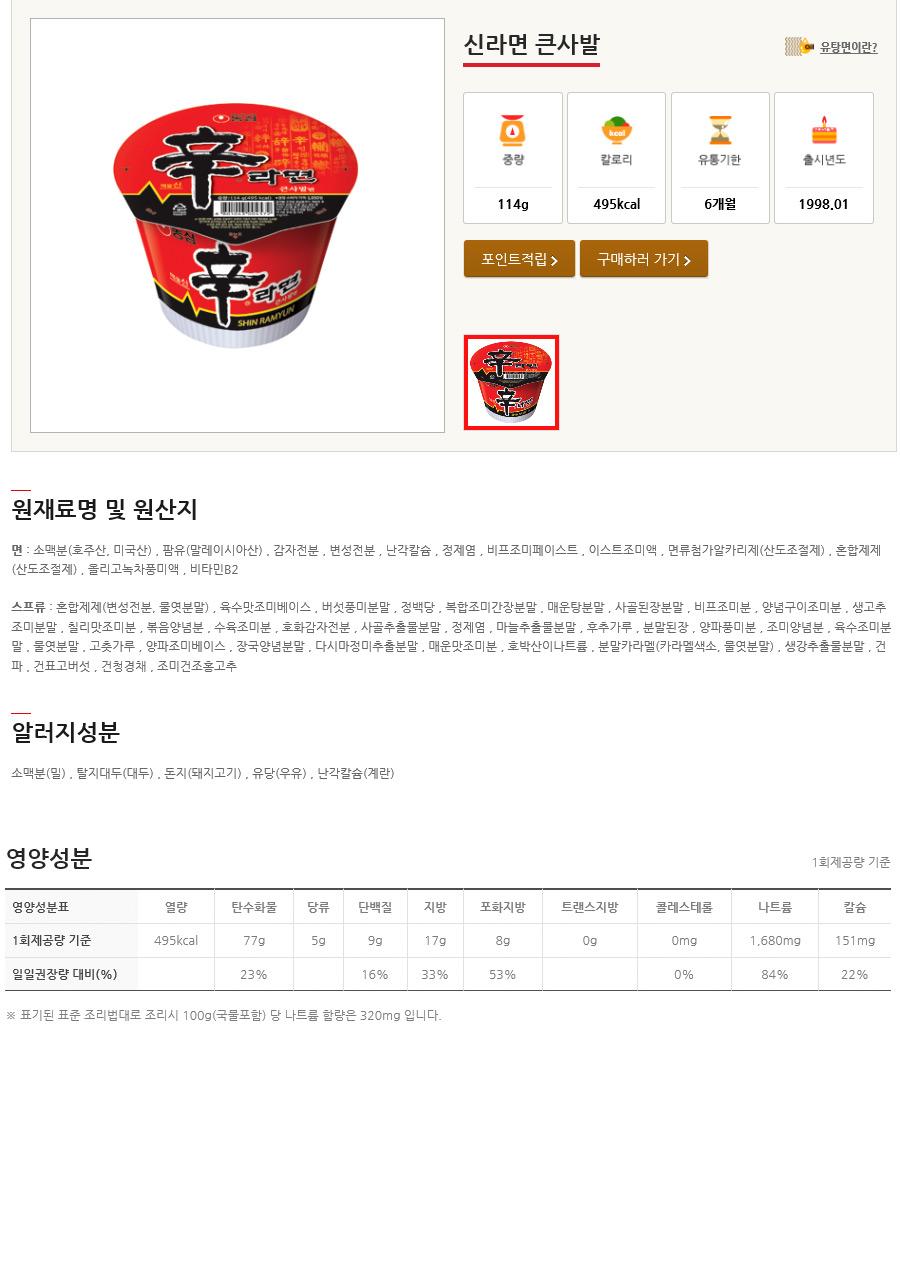 [ NongShim ] [BOX][Nongshim] Shin Noodle Ramen Big Cup 1BOX