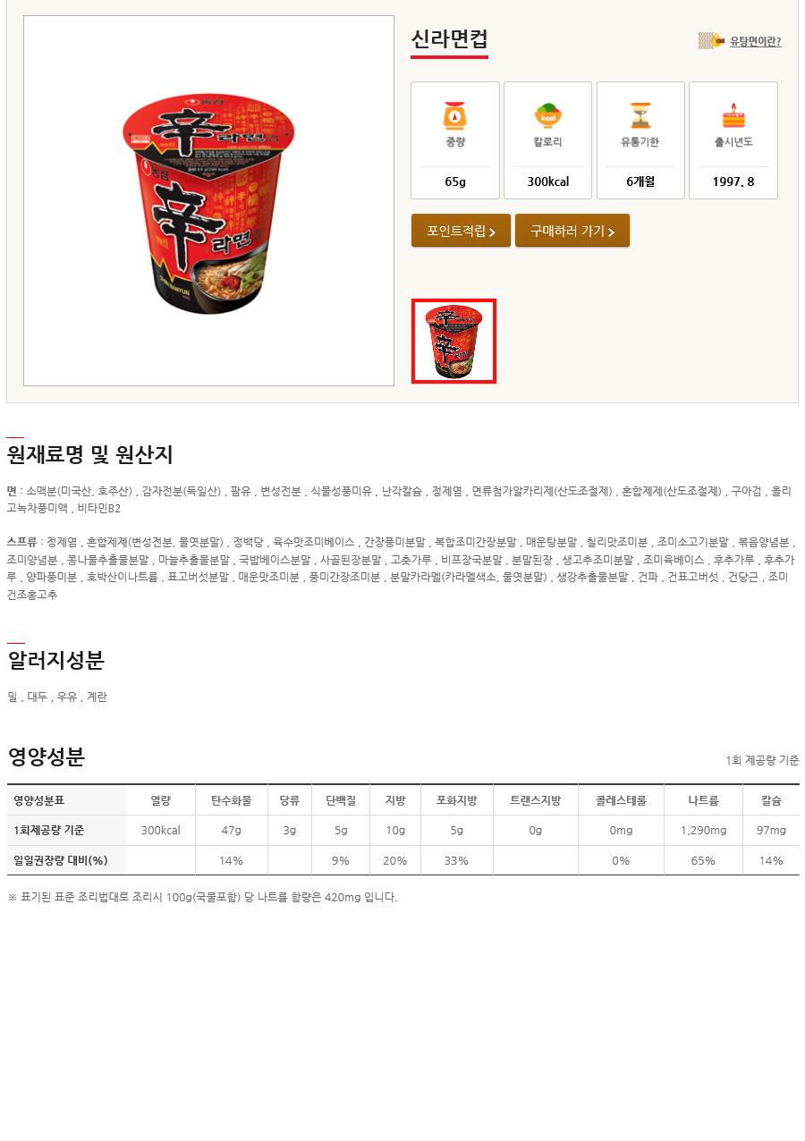 [ NongShim ] [BOX][Nongshim] Shin Noodle Ramen Cup 1BOX