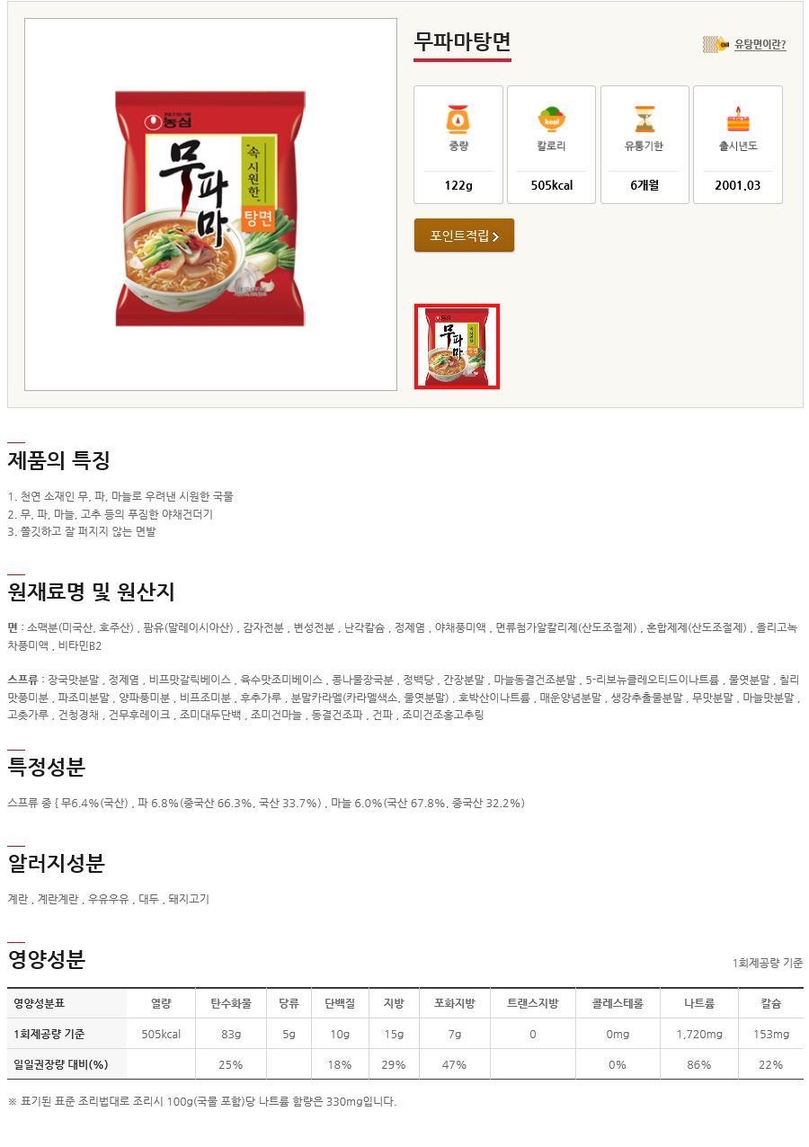 [ NongShim ] [盒][制糖] Moo-Pa-马面方便面 1框
