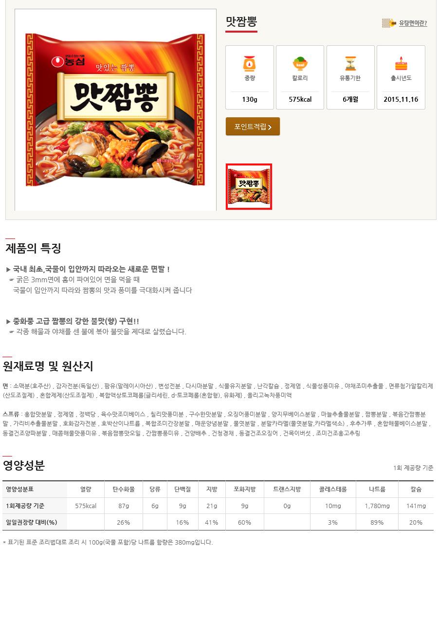[ NongShim ] [BOX][Nongshim] Taste Jjamppong Noodle Ramen 1BOX (36pcs)