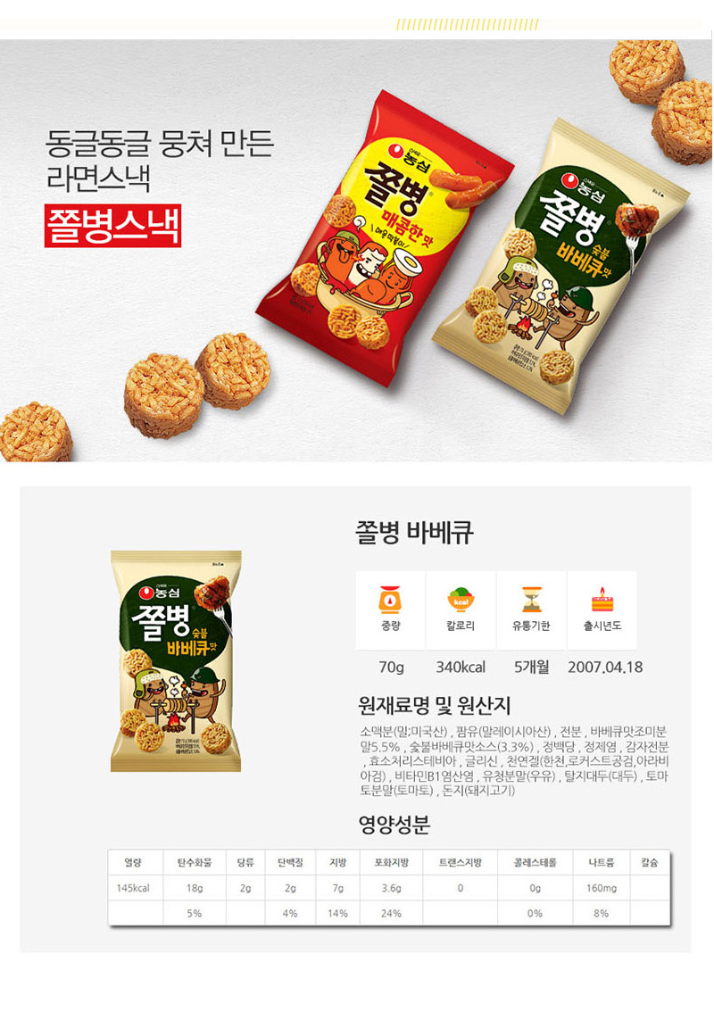 [ NongShim ] SoldierBarbecue 70g x 10pc