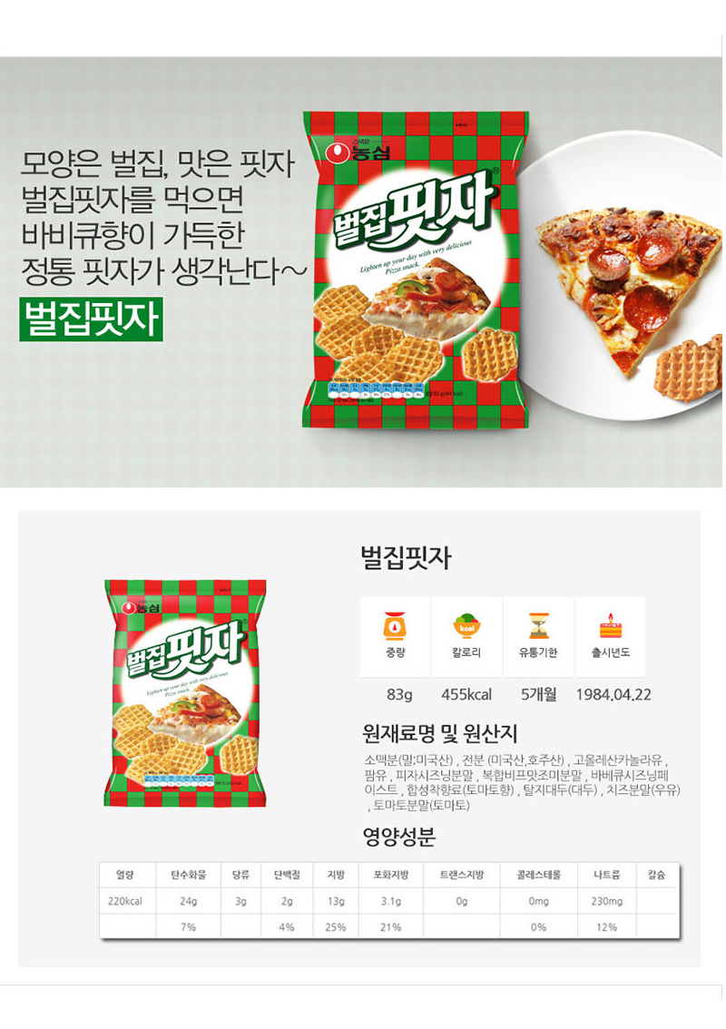 [ NongShim ] Honeycomb pizza 83g x 10pc