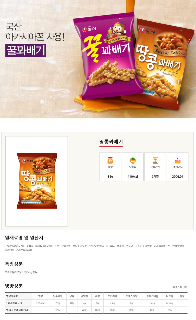[ NongShim ] Peanut Twisted Snack 84g * 5Packs