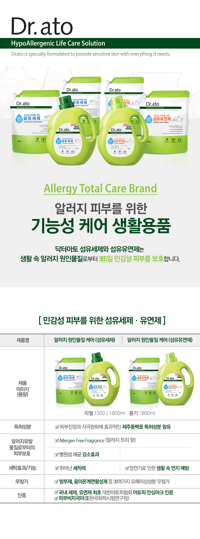 [ Dr.ato ] Fabric softener Refill (Allergen care) 1500ml * 2ea
