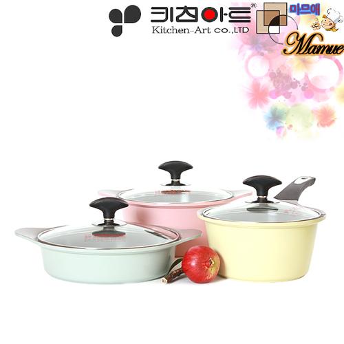 키친아트 마므애 세라믹코팅 주물냄비 3종B(18cm편수,20cm양수,22cm전골)