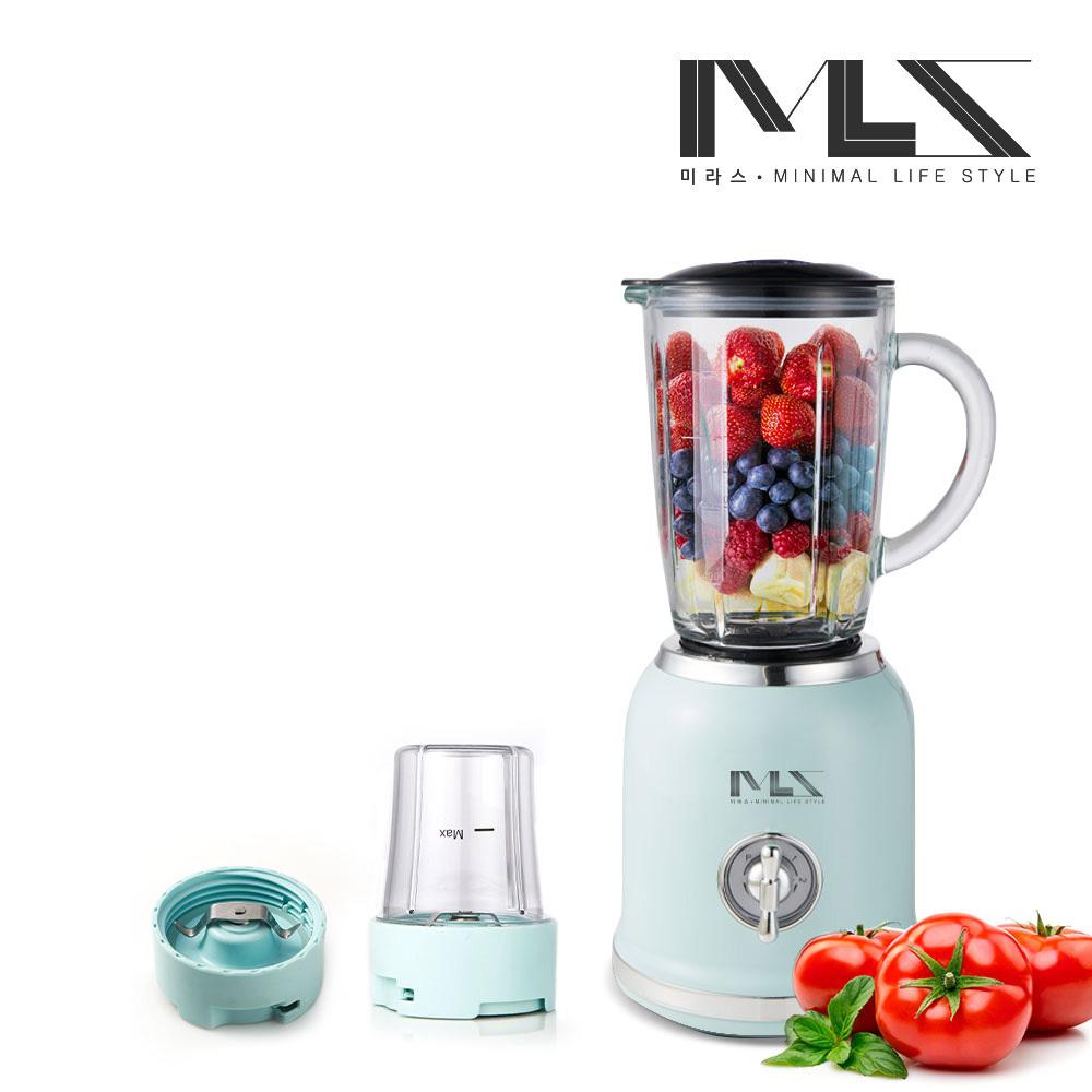 미라스 2in1 강화유리 믹서기 MS001-BL