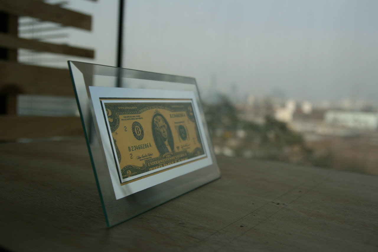 contact us about lot and wholesale price description gold colored 2 dollar bill in glass frame - Dollar Bill Frame