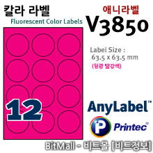 애니라벨 V3810 (형광라벨 R 원12칸) - 8805806038507