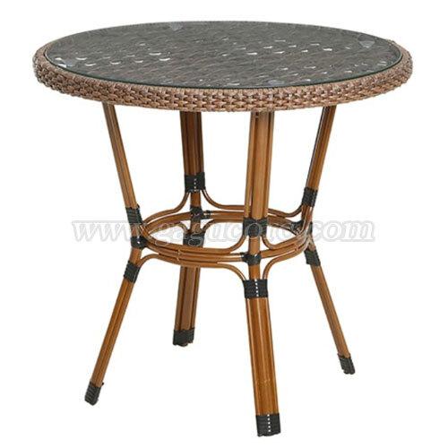 라탄유리테이블(원형)(업소용테이블, 카페테이블, 야외테이블, 인테리어테이블, 아웃도어테이블)