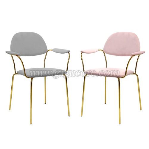 VFC-AGNS 골드암체어(업소용의자, 카페의자, 철재의자, 스틸체어, 인테리어의자, 레스토랑체어)