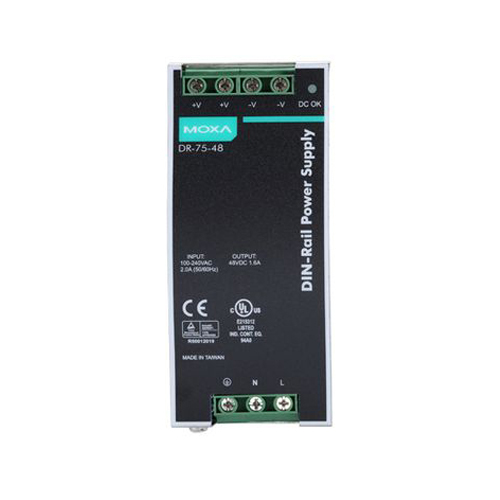 [MOXA] DR-75-48 75W/1.6A DIN-Rail 48 VDC power supply with universal 85 to 264 VAC or 120-370 VDC input, -10 to 60°C operating temperature