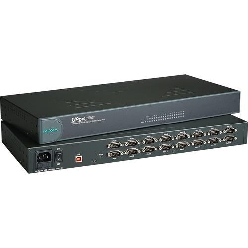 [MOXA] UPORT 1650-16 16PORT USB to RS-232/422/485/ DB9 Male/ 921.6Kbps/ 15KV ESD Surge Protection/ Plug & Play