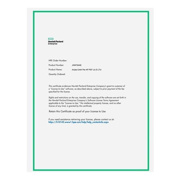 [HPE Aruba] Aruba LIC-PEF 1AP 방화벽 라이센스 [JW473AAE]