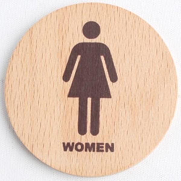 우드타입 화장실 표지판