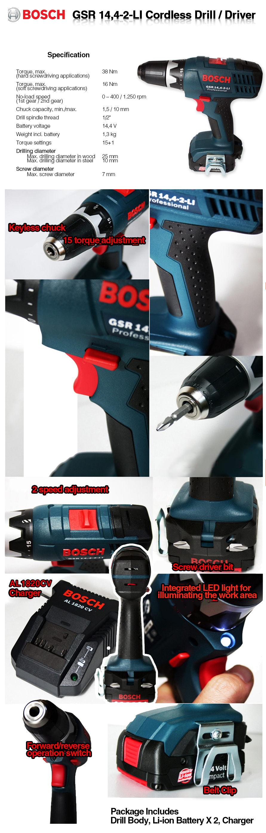 bosch gsr 14 4 2 li cordless drill driver 14 4v 1 2 chuck size extra baterry ebay. Black Bedroom Furniture Sets. Home Design Ideas