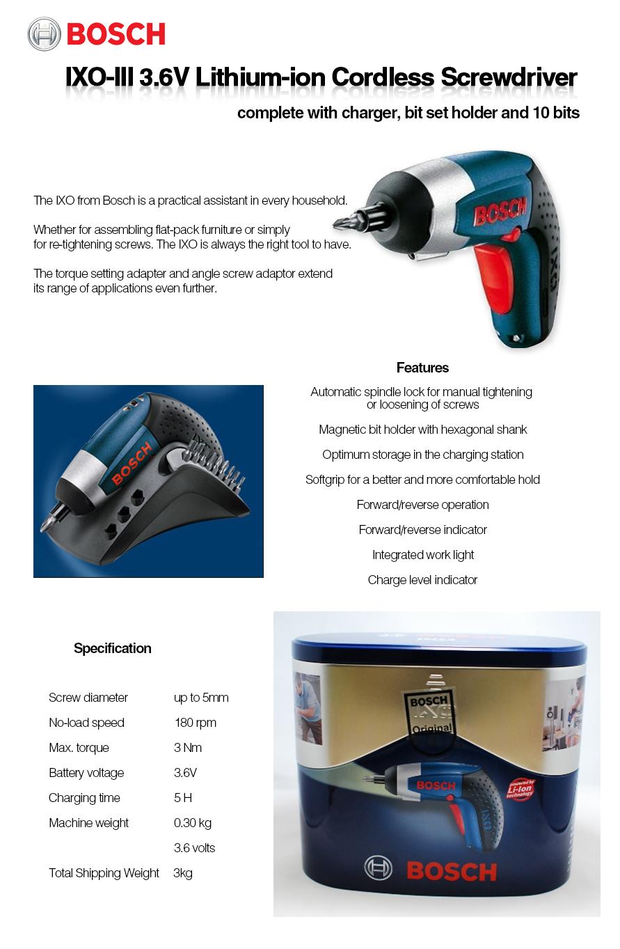 bosch ixo iii professional lithium ion cordless screwdriver 3 6v brand new ebay. Black Bedroom Furniture Sets. Home Design Ideas