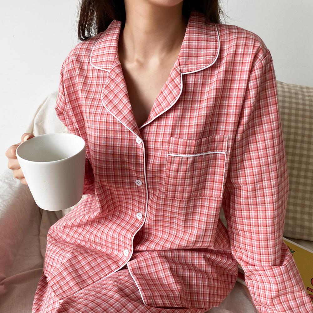 유즈비 체크 커플 파자마 잠옷 SET