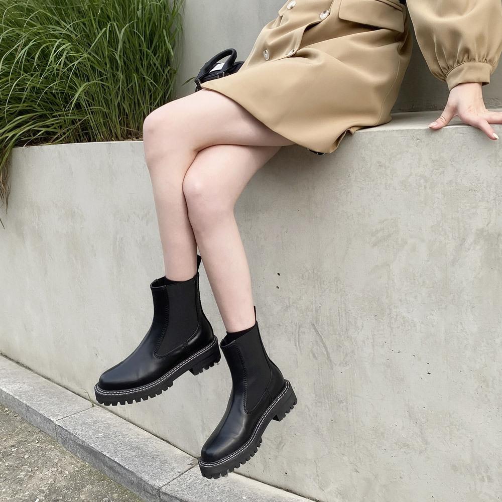 라운드 첼시 하이부츠 워커 신발