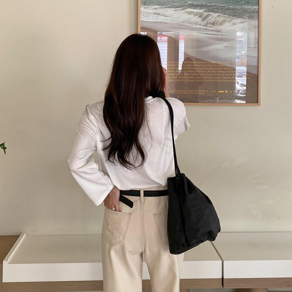 마인디 베이직 나염 영문 긴팔 티셔츠