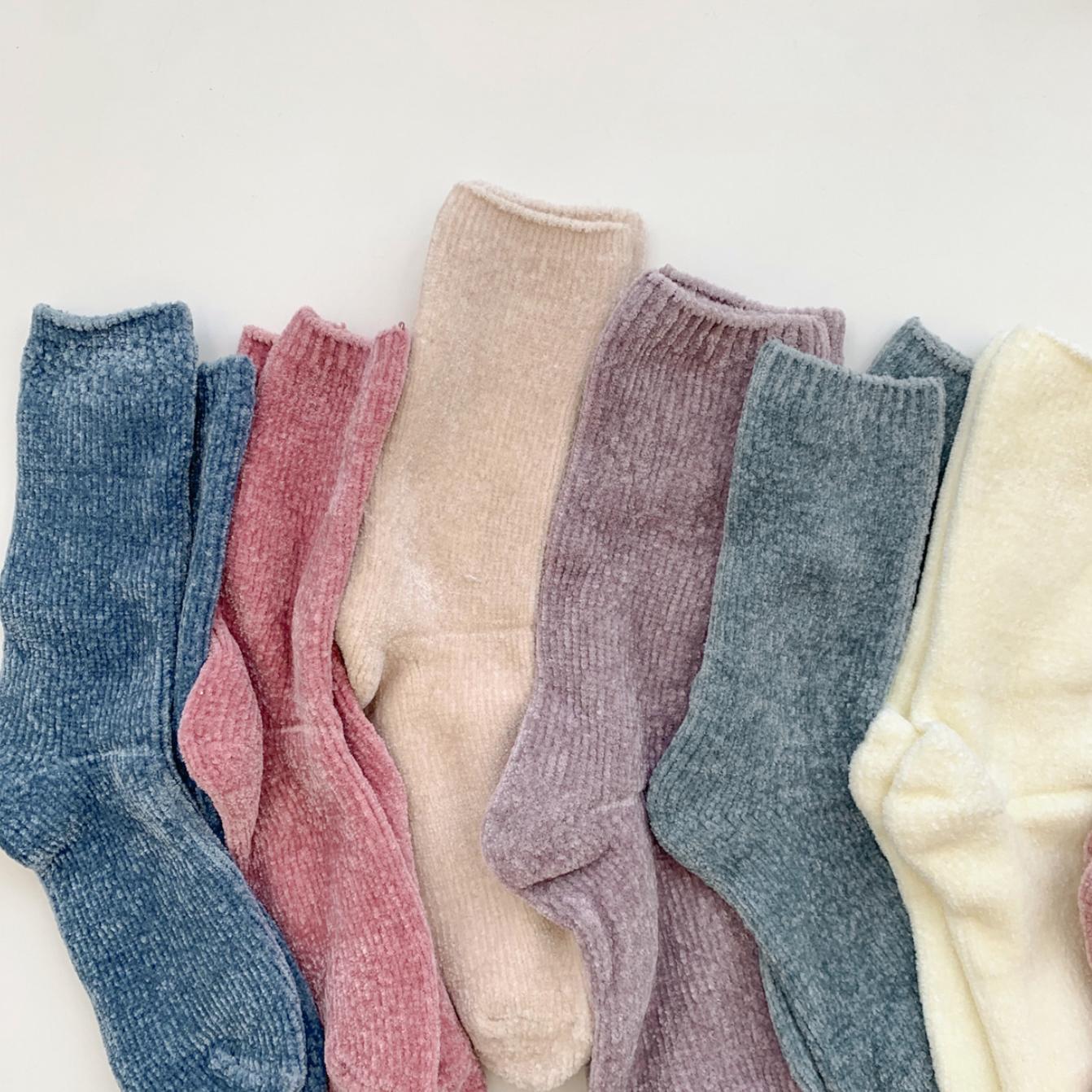 (무료배송♥)벨벳 장목 수면양말(11colors)