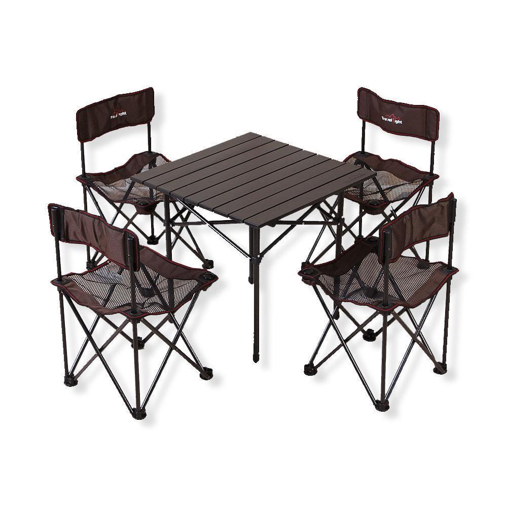 4인 폴딩 캠핑테이블 세트 식탁 야외용 휴대용 접이식