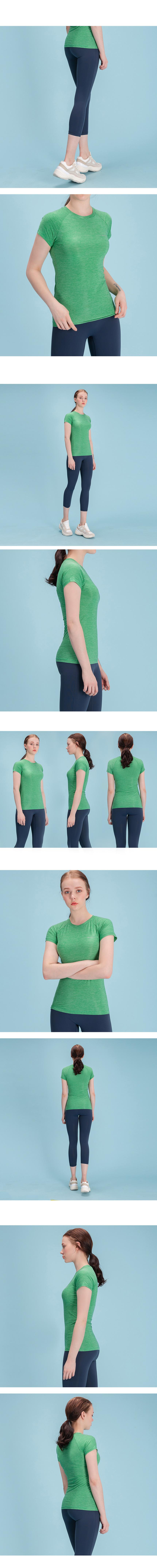 여성 스포츠 슬림핏 티셔츠 DFW5007 그린