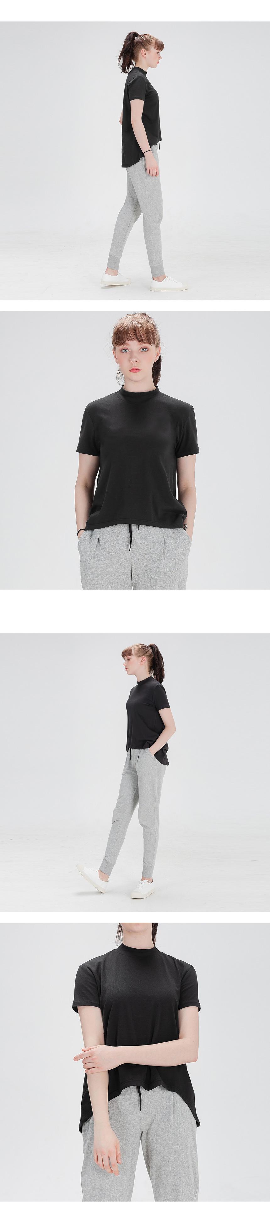 에이라인 반목폴라 반팔 티셔츠 블랙 - 뒤란, 35,000원, 여성 트레이닝, 상의