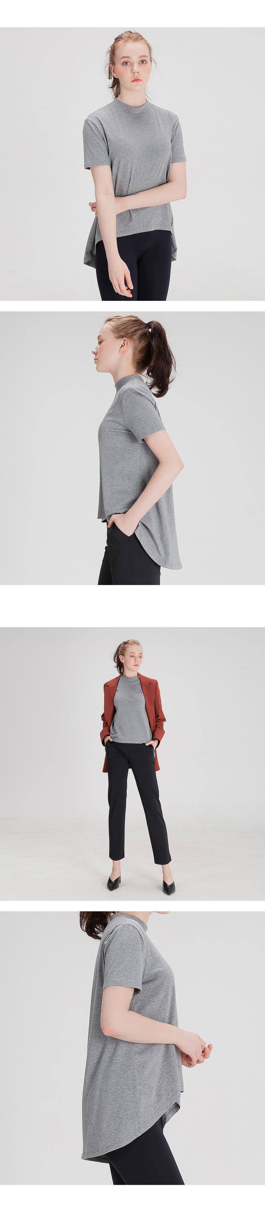 에이라인 반목폴라 반팔 티셔츠 그레이 - 뒤란, 35,000원, 여성 트레이닝, 상의