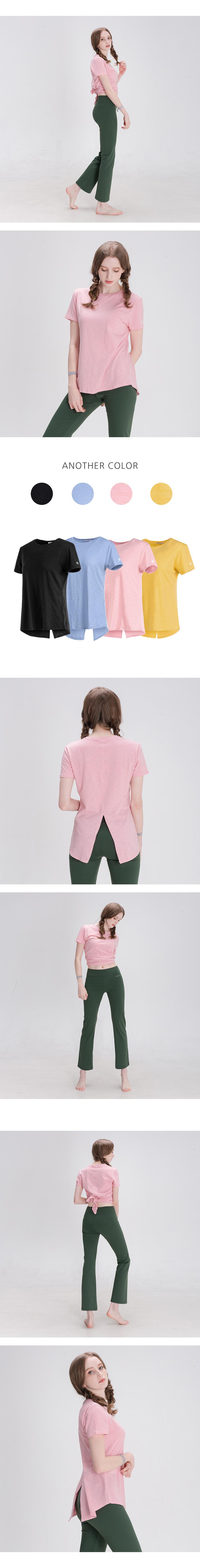 뒤란(DURAN) 모달 백슬릿 티셔츠 DFW5026 핑크