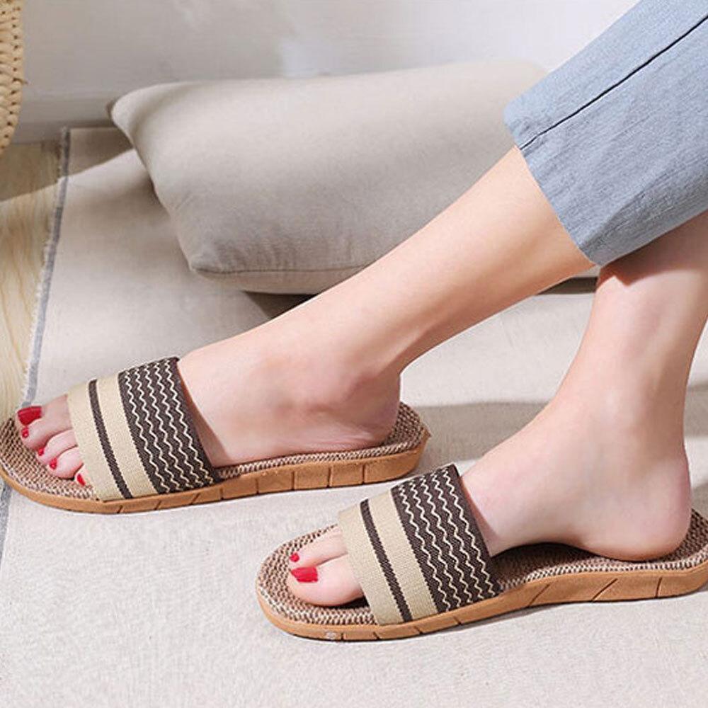 웨이브 린넨 슬리퍼/사무실 여성 남자 여름 라탄 신발 [제작 대량 도매 로고 인쇄 레이저 마킹 각인 나염 실크 uv 포장 공장 문의는 네이뽕]