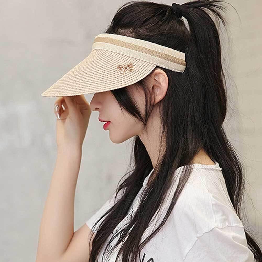 썬바이저 밀짚 썬캡/여성 챙 캡 모자 여름 자외선차단 [제작 대량 도매 로고 인쇄 레이저 마킹 각인 나염 실크 uv 포장 공장 문의는 네이뽕]