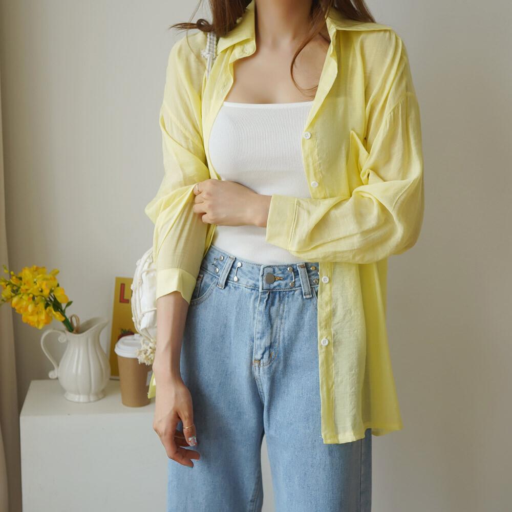 (국내배송) 버트니 시스루 루즈핏 셔츠