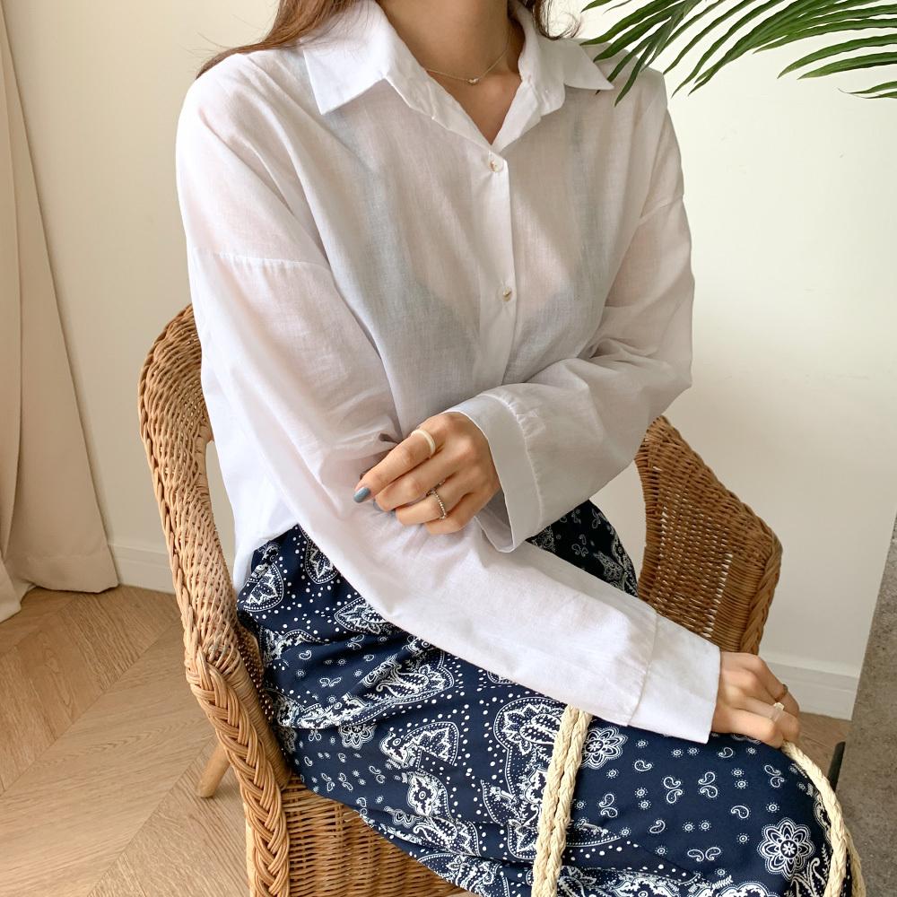 데일리 시스루 썸머 긴팔 셔츠