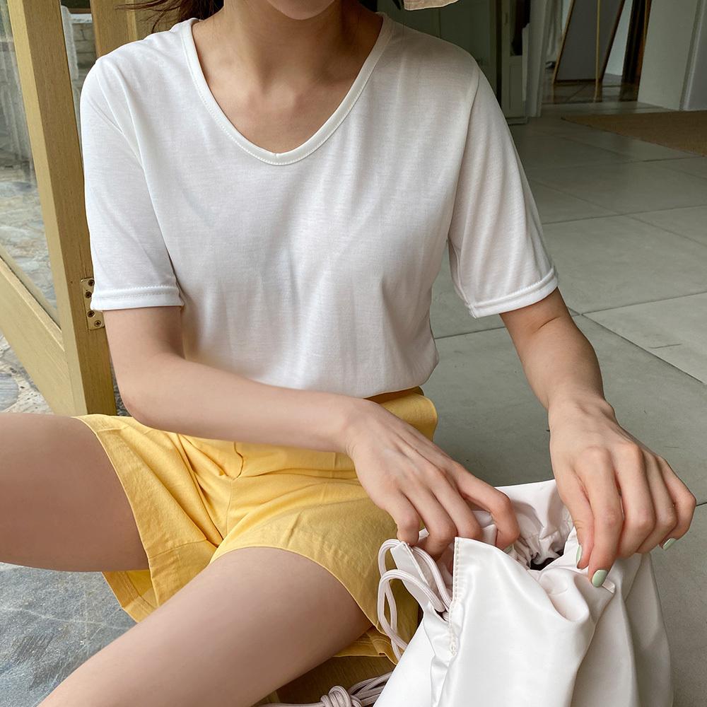 여름 브이넥 반팔 모달 티셔츠