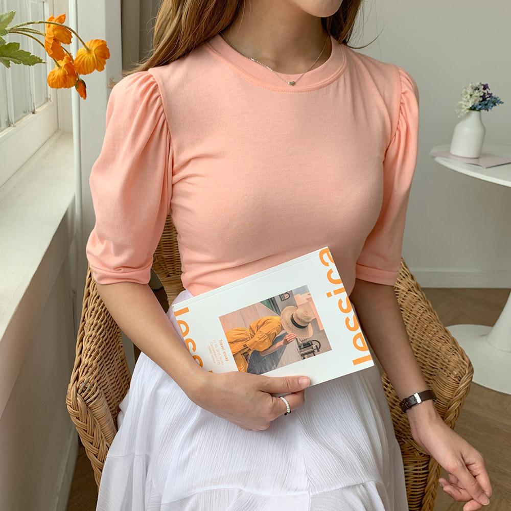 여성 퍼프 기본 무지 반팔 티셔츠