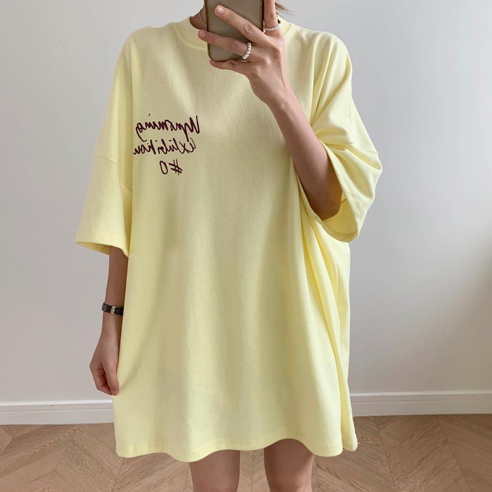 기본 백레터링 영문 박시핏 티셔츠