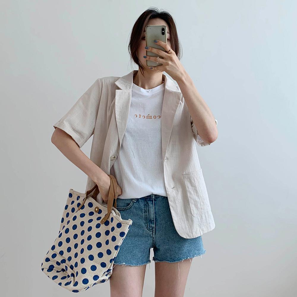여름 레터링 라운드 자수 티셔츠