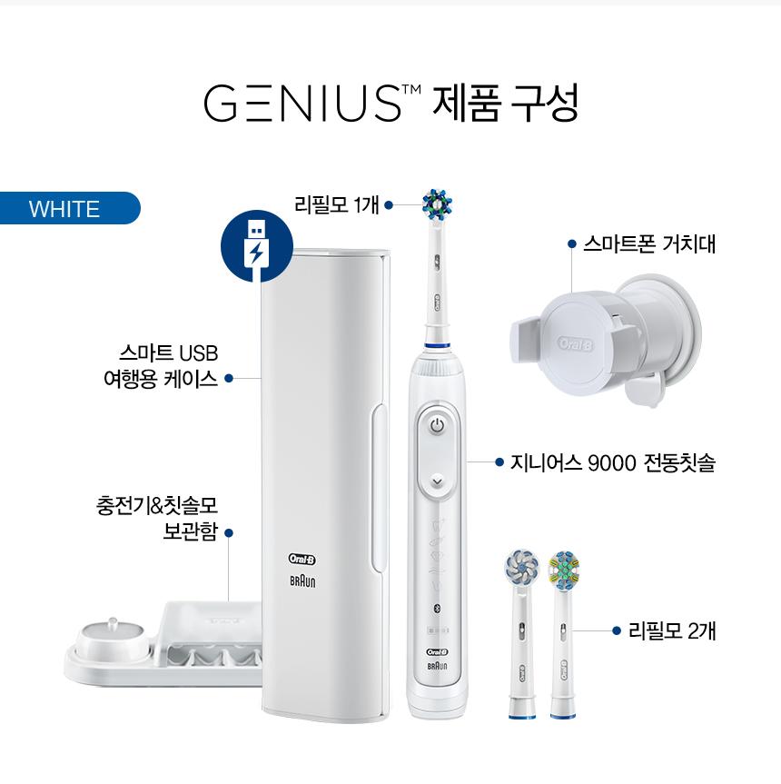 GENIUS 제품 구성 WHITE 리필모 1개 스마트폰 거치대 스마트 USB 여행용 케이스 지니어스 9000 전동칫솔 충전기&칫솔모 보관함 리필모 2개
