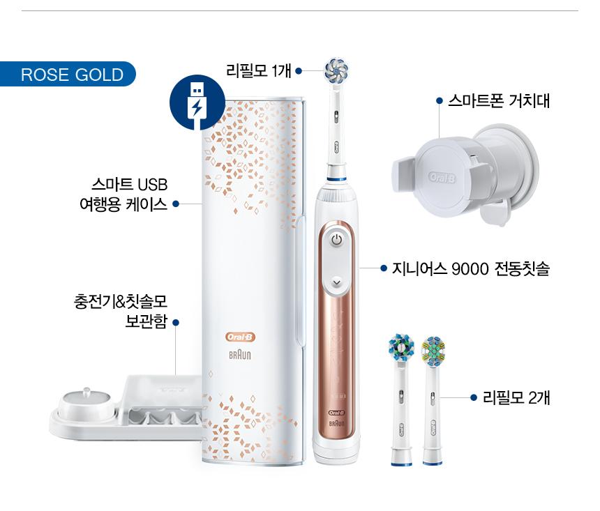 ROSE GOLD 리필모 1개 스마트폰 거치대 스마트 USB 여행용 케이스 지니어스 9000 전동칫솔 충전기&칫솔모 보관함 리필모 2개