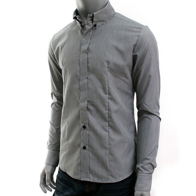 VoiVoila Men's button down stripes dress slim fit long sleeve ...