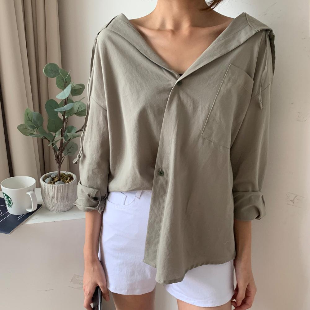 겨울 여성 루즈핏 사선 후드 셔츠