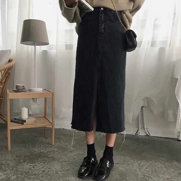 [BOTTOM]스톤 데님 미니스커트