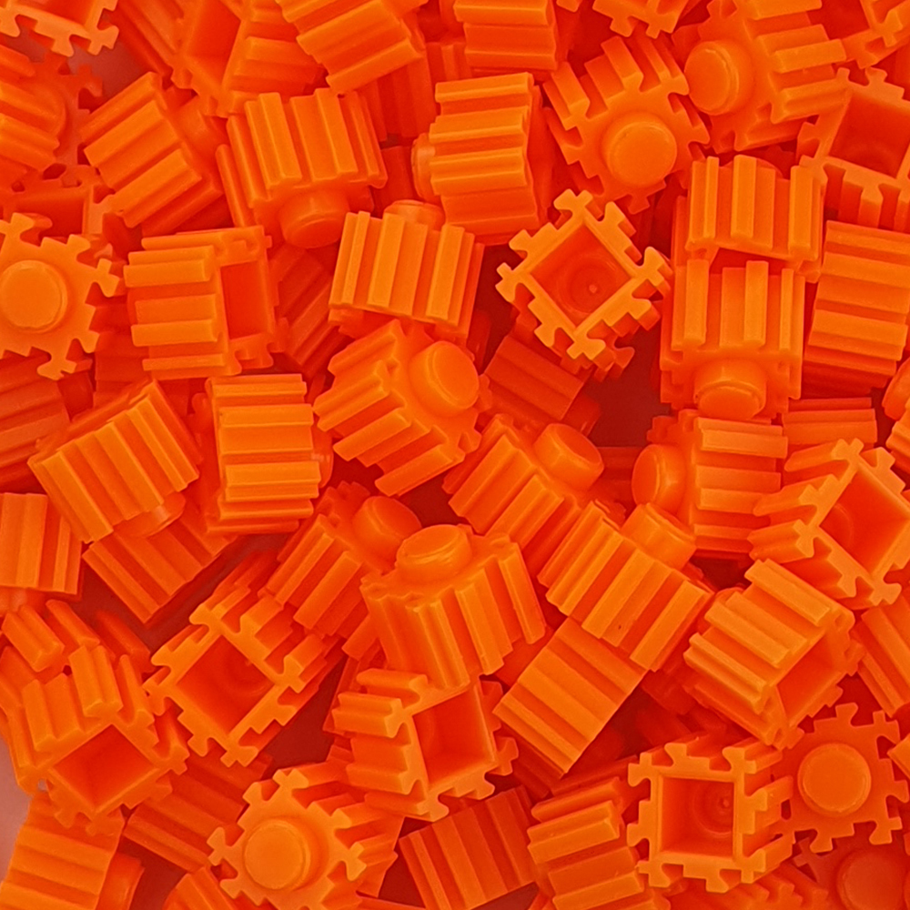 퍼즐블럭 8mm 형광주황색 500개