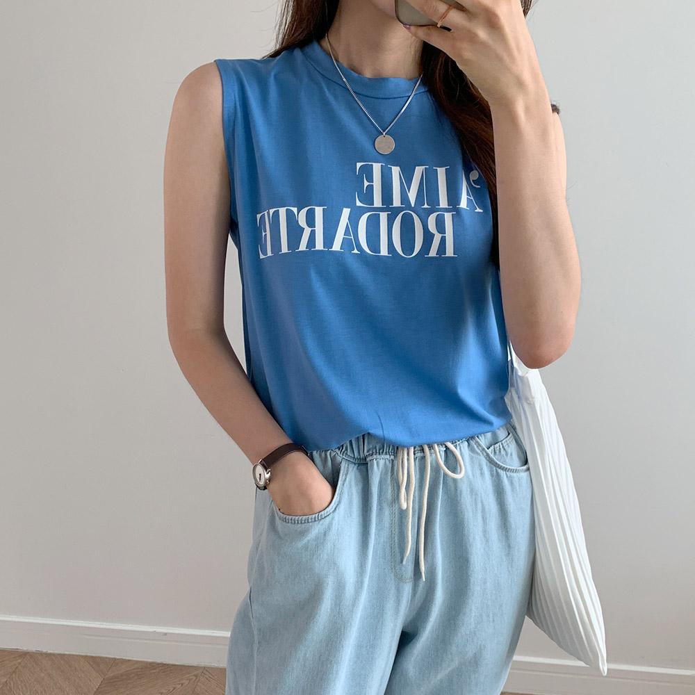 데일리 스판 얇은 민소매 레터링 티셔츠